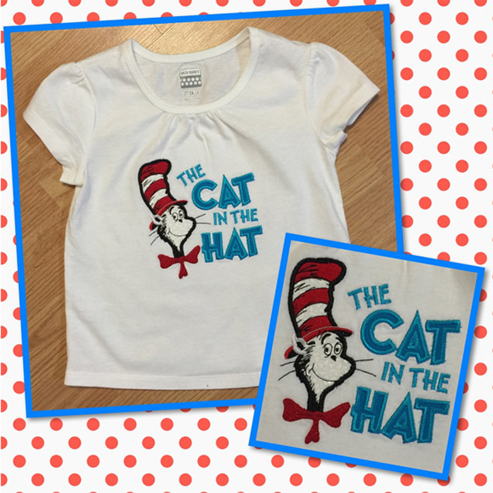 Dr Seuss Cat In The Hat Applique Machine Embroidery Design Pattern